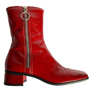 Red patent square toe zip boots by Aquatalia 6.5